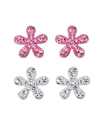 Pink & Silver Crystal Flower Earring Set