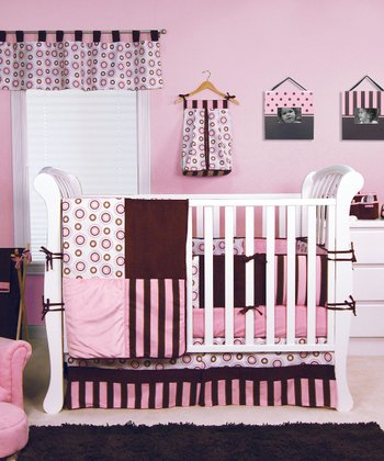 Bubblegum & Brown Four-Piece Crib Bedding Set