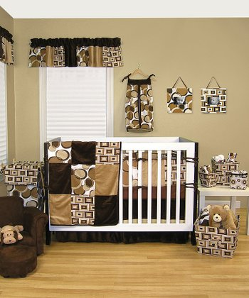 Brown Bubble Four-Piece Crib Bedding Set