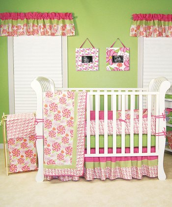 Pink & Green Hula Baby Four-Piece Crib Bedding Set