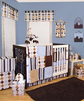 Blue & Brown Prep School Three-Piece Crib Bedding Set