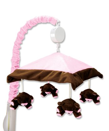 Pink & Brown Bear Crib Mobile