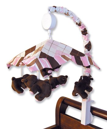 Pink & Brown Prep School Bear Crib Mobile