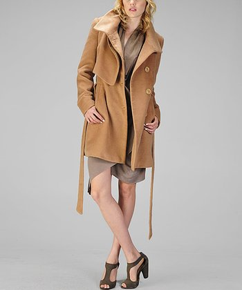 Camel Felt Trench Coat