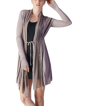 Metal Gray Pleated Tie-Front Cardigan