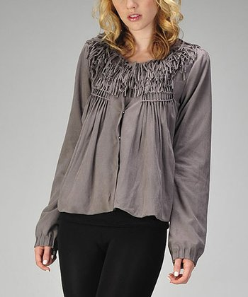 Charcoal Faux Suede Fringe Jacket