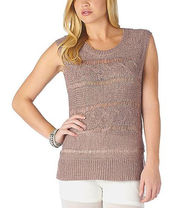 Sepia Sheer Cap-Sleeve Sweater
