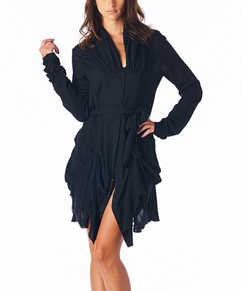 Black Ruched Long-Sleeve Dress