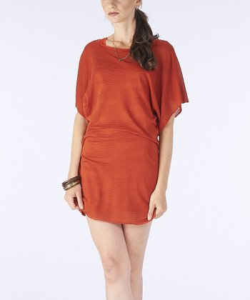 Rust Sheer Boatneck Cape-Sleeve Dress