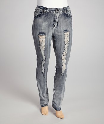 Gray Bleached Wash Destructed Skinny Jeans - Plus