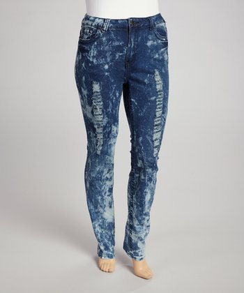 Dark Blue Bleach Wash Destructed Skinny Jeans - Plus
