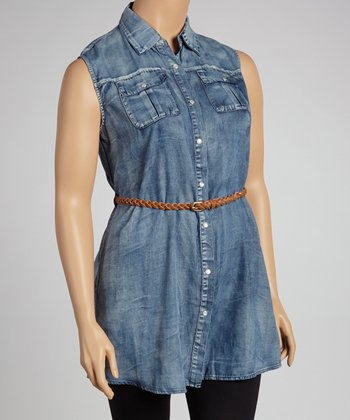 Denim Belted Sleeveless Tunic - Plus