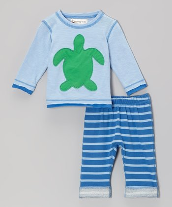 Blue Turtle Top & Stripe Pants - Infant