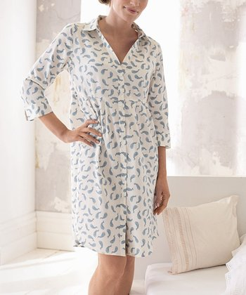 Dusty Blue & White Maternity & Nursing Sleepshirt - Women