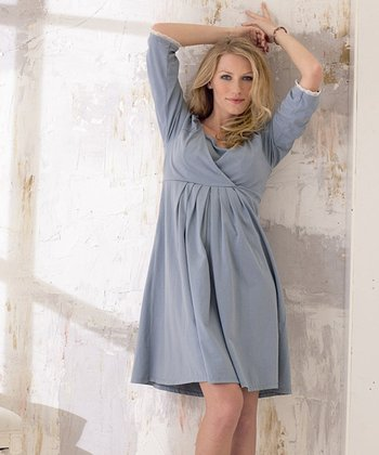 Dusty Blue Maternity & Nursing Nightgown - Women