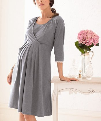 Frost Gray Maternity & Nursing Nightgown - Women