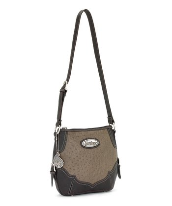 Olive Faux Ostrich Crossbody Bag
