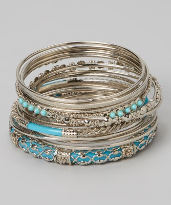 Silver & Turquoise Bangle Set
