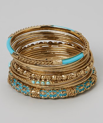 Gold & Turquoise Bangle Set