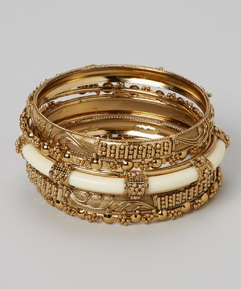 Gold & Ivory Bangle Set