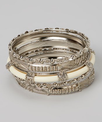 Silver & Ivory Plus Bangle Set