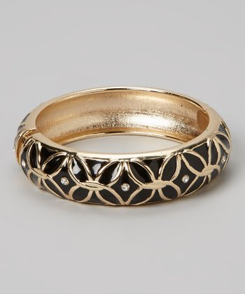 Gold & Black Flower Plus Hinge Bangle