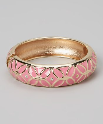Gold & Pink Flower Plus Hinge Bangle