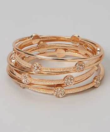 Gold Rhinestone Heart Bangle Set