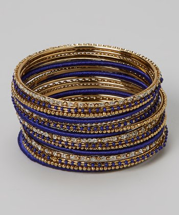 Gold & Blue Rhinestone Bangle Set