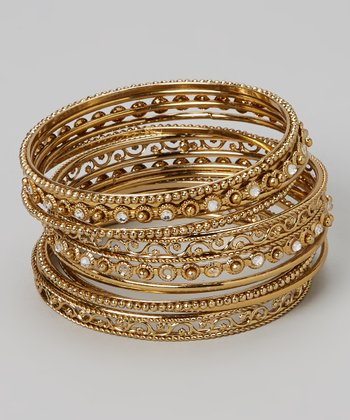 Gold Gem Filigree Bangle Set