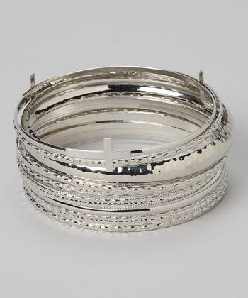 Silver Cross Bangle Set