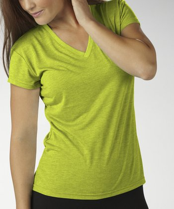 Heather Lime V-Neck Tee