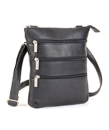 Black Triple Zip Crossbody Bag