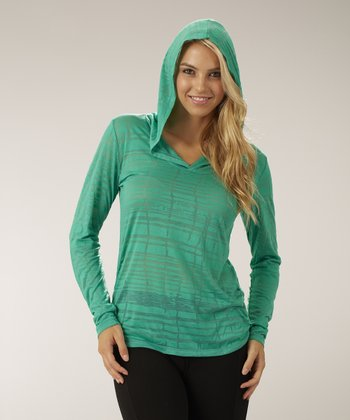 Peacock Green Shirred Delight Burnout Hoodie