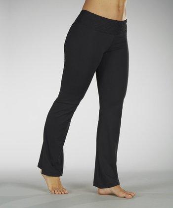 Black Embossed Waistband Yoga Pants
