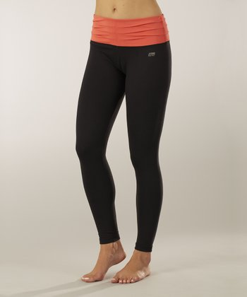 Sizzling Coral & Black Pleated Leggings