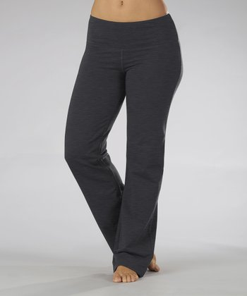Heather Charcoal Fleece Yoga Pants - Women