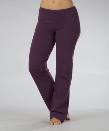 Heather Blackberry Fleece Yoga Pants - Women