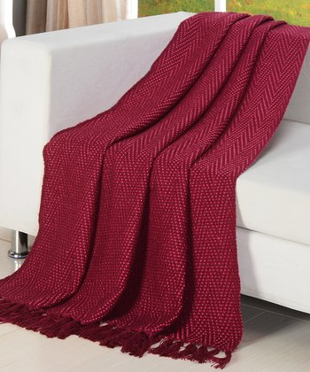 Fushia Herringbone Zigzag Throw