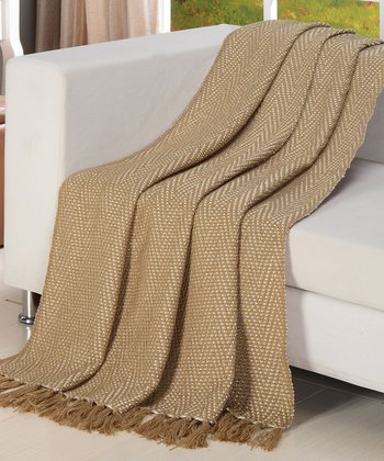 Tan & Cream Herringbone Zigzag Throw