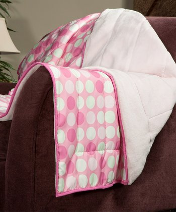 Pink Polka Dot Cozy Plush Throw
