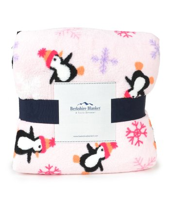 Pink Penguin Throw