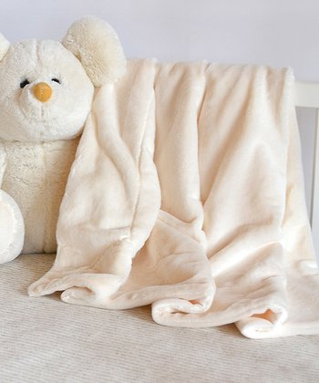 Cream Ultra-Fine Plush Baby Blanket