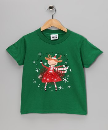 Green 'Little Miss Christmas' Tee - Toddler & Girls