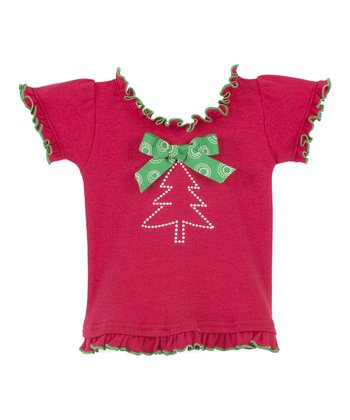 Red & Green Christmas Tree Ruffle Top