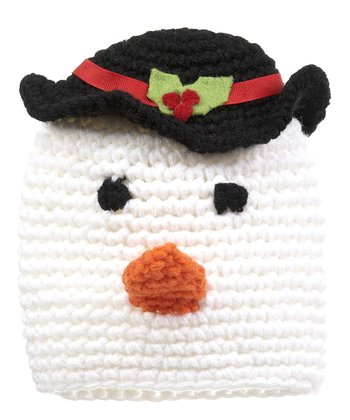 White & Black Snowman Crocheted Beanie