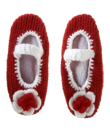 Red & White Crocheted Flower Booties