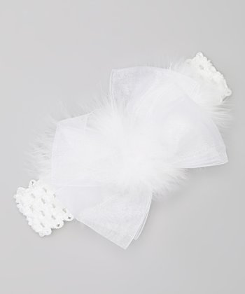 White Marabou Bow Headband