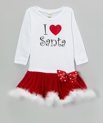 White & Red 'I Love Santa' Drop-Waist Dress - Infant & Toddler