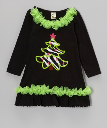 Black & Lime Christmas Tee Shift Dress - Infant, Toddler & Girls